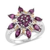 Purple Garnet 14K YG and Platinum Over Sterling Silver Floral Ring (Size 8.0) TGW 3.220 cts.