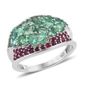 Boyaca Colombian Emerald, Ruby Platinum Over Sterling Silver Concave Ring (Size 8.0) TGW 2.715 cts.