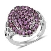 Madagascar Pink Sapphire Platinum Over Sterling Silver Openwork Cluster Ring (Size 8.0) TGW 2.88 cts.