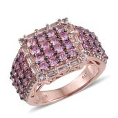 Madagascar Pink Sapphire, White Topaz 14K RG Over Sterling Silver Cluster Wide Band Ring (Size 8.0) TGW 4.00 cts.
