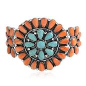 Santa Fe Style Turquoise, Spiny Oyster Shell Orange Sterling Silver Cuff (6.50 in) Total Gem Stone Weight 6.74 Carat