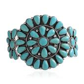 Santa Fe Style Turquoise Sterling Silver Cuff (6.50 in) Total Gem Stone Weight 6.74 Carat