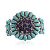 Santa Fe Style Mojave Purple Turquoise, Turquoise Sterling Silver Cuff (6.50 in) Total Gem Stone Weight 6.74 Carat