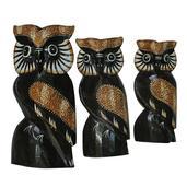 Handcarved Wooden Owl Carving Set of 3