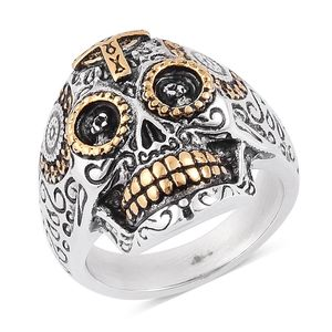 Halloween ION Plated Black, YG and Stainless Steel Skull Men's Ring (Size 11.0)