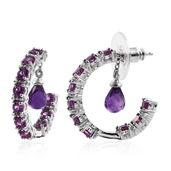 Amethyst, Purple Garnet Platinum Over Sterling Silver Inside Out Charm Half Hoop Earrings TGW 4.90 cts.