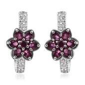 Purple Garnet, White Topaz Platinum Over Sterling Silver Floral J-Hoop Earrings TGW 3.700 Cts.