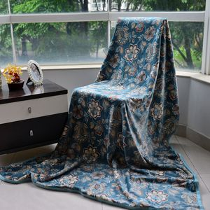 Green Floral Print Microfiber, Flannel Blanket (60x40 in)