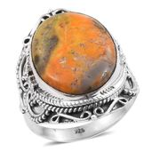 Artisan Crafted Bumble Bee Jasper Sterling Silver Ring (Size 8.0) TGW 13.910 cts.