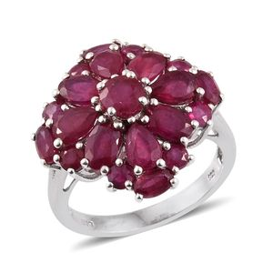 Niassa Ruby Platinum Over Sterling Silver Ring (Size 10.0) TGW 8.41 cts.