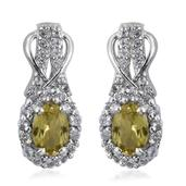 Golden Apatite, White Topaz Platinum Over Sterling Silver Dangle Earrings TGW 2.750 Cts.