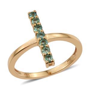 Boyaca Colombian Emerald 14K YG Over Sterling Silver Cross 5 Stone Vertical Ring (Size 7.0) TGW 0.420 cts.