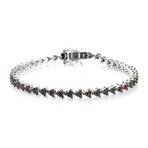Black Diamond (IR) Platinum Over Sterling Silver Bracelet (7.50 In) Total Gem Stone Weight 3 Carat