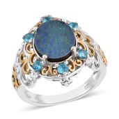 Australian Boulder Opal, Malgache Neon Apatite 14K YG and Platinum Over Sterling Silver Ring (Size 9.0) TGW 1.500 cts.