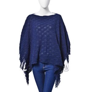 J Francis - Navy Acrylic Poncho with Fringes