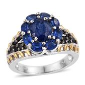 Himalayan Kyanite, Thai Black Spinel 14K YG and Platinum Over Sterling Silver Ring (Size 7.0) TGW 4.650 cts.