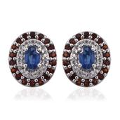 Himalayan Kyanite, Multi Gemstone Platinum Over Sterling Silver Stud Earrings TGW 2.67 cts.