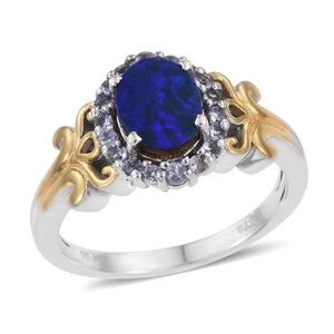 Australian Boulder Opal, Tanzanite 14K YG and Platinum Over Sterling Silver Ring (Size 8.0) TGW 2.160 cts.