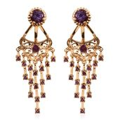 Royal Jaipur Rose De France Amethyst, Orissa Rhodolite Garnet, Ruby 14K RG Over Sterling Silver Ear Jacket Earrings TGW 4.710 Cts.