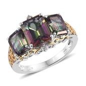 Northern Lights Mystic Topaz, Diamond Accent 14K YG and Platinum Over Sterling Silver Ring (Size 6.0) TGW 8.07 cts.