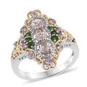 Marropino Morganite, Pink Tourmaline, Russian Diopside, Diamond Accent 14K YG and Platinum Over Sterling Silver Ring (Size 7.0) TDiaWt 0.02 cts, TGW 1.370 cts.