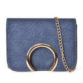 J Francis - Slate Blue Faux Leather Arch Flap Over Crossbody Clutch (7x2.5x5.5 In)