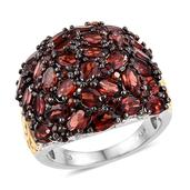 Mozambique Garnet 14K YG and Platinum Over Sterling Silver Ring (Size 7.0) TGW 9.480 cts.