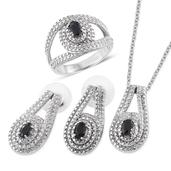Craig's Host Pick Black Sapphire Stainless Steel Split Earrings, Ring (Size 5) and Pendant With Chain (20 in) TGW 2.160 cts.
