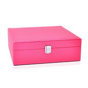 TLV Magenta Quilted Embossed Faux Leather Jewelry Box with Mirror, 1 1/2 Layers (Approx. 70 Rings) (10x10x3.5 in)