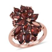 Mozambique Garnet 14K RG Over Sterling Silver Elongated Ring (Size 7.0) TGW 9.850 cts.