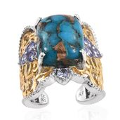 Royal Jaipur Mojave Blue Turquoise, Tanzanite, Ruby 14K YG and Platinum Over Sterling Silver Openwork Open Band Ring (Size 6.0) TGW 12.21 cts.