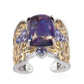 Royal Jaipur Mojave Purple Turquoise, Tanzanite, Ruby 14K YG and Platinum Over Sterling Silver Ring (Size 9.0) TGW 11.940 cts.