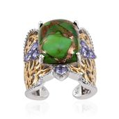 Royal Jaipur Mojave Green Turquoise, Tanzanite, Ruby 14K YG and Platinum Over Sterling Silver Openwork Open Band Ring (Size 7.0) TGW 11.70 cts.