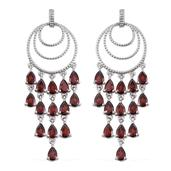 Mozambique Garnet Platinum Over Sterling Silver Chandelier Earrings TGW 15.250 Cts.