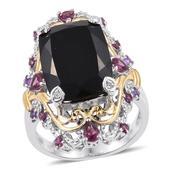 Australian Black Tourmaline, Multi Gemstone 14K YG and Platinum Over Sterling Silver Ring (Size 7.0) TGW 17.14 cts.