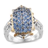 KARIS Collection - Signity Sum Blue Topaz ION Plated 18K YG and Platinum Bond Brass Ring (Size 7.0) TGW 2.220 cts.
