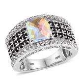 Mercury Mystic Topaz, Thai Black Spinel, White Topaz Platinum Over Sterling Silver Ring (Size 6.0) TGW 6.750 cts.