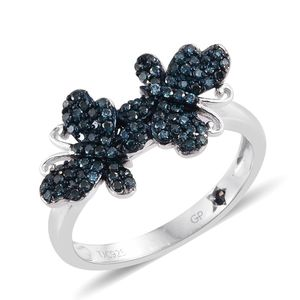 GP Certified Blue Diamond (IR) Blue Rhodium and Platinum Over Sterling Silver Dual Butterfly Ring (Size 8.0) TDiaWt 0.55 cts, TGW 0.58 cts.