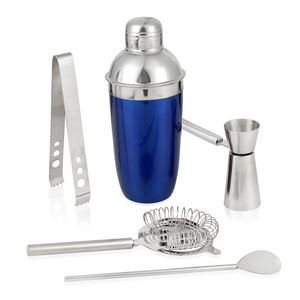 Blue Stainless Steel Bar Set (Cocktail Shaker, Strainer Top, Jigger, Bar Spoon, Ice Tongs)