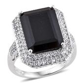 Australian Black Tourmaline, White Topaz Platinum Over Sterling Silver Ring (Size 7.0) TGW 14.61 cts.