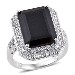 Australian Black Tourmaline, White Topaz Platinum Over Sterling Silver Ring (Size 8.0) TGW 14.61 cts.