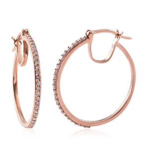 Natural Pink Diamond 14K RG Over Sterling Silver Hoop Earrings TDiaWt 0.50 cts, TGW 0.50 cts.