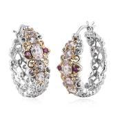 Marropino Morganite, Ruby 14K YG and Platinum Over Sterling Silver Openwork Hoop Earrings TGW 2.180 Cts.