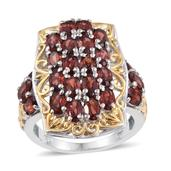 Mozambique Garnet 14K YG and Platinum Over Sterling Silver Ring (Size 8.0) TGW 7.600 cts.