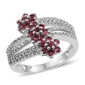 Mahenge Rose Spinel, White Topaz Platinum Over Sterling Silver Bypass Ring (Size 8.0) TGW 1.79 cts.