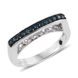 GP Certified Multi Color Diamond (IR) Platinum Over Sterling Silver Ring (Size 9.0) TDiaWt 0.31 cts, TGW 0.34 cts.
