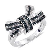 GP Certified Blue Diamond (IR), Diamond Platinum Over Sterling Silver Bow Ring (Size 8.0) TDiaWt 0.51 cts, TGW 0.54 cts.