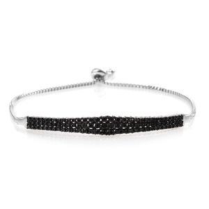 GP Certified Black Diamond (IR) Platinum Over Sterling Silver Magic Ball Bar Bracelet (Adjustable) TDiaWt 0.99 cts, TGW 1.02 cts.