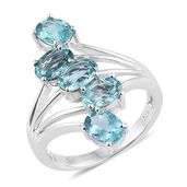 Madagascar Paraiba Apatite Platinum Over Sterling Silver 5 Stone Ring (Size 5.0) TGW 3.60 cts.