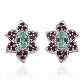 Boyaca Colombian Emerald, Ruby Platinum Over Sterling Silver Flower Stud Earrings TGW 1.94 cts.